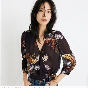 Madewell Blooming Oasis Floral Wrap Top Sz small